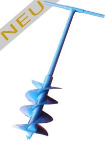 Erdbohrer 250mm 25cm blau - 1m Handerdbohrer mit extra Metallgriff