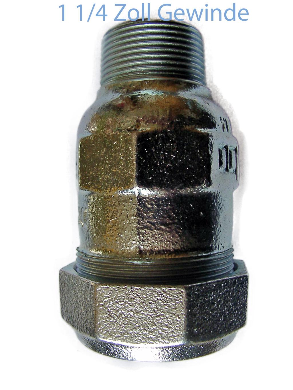 Klemmverbinder für Rammbrunnen 1 1/4 Zoll Stahlrohr auf 1 1/4 Außengewinde GEBO