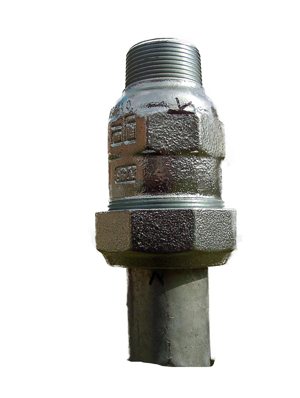 GEBO Klemmverbinder für Rammbrunnen 2 Zoll Stahlrohr auf 2 Außengewinde