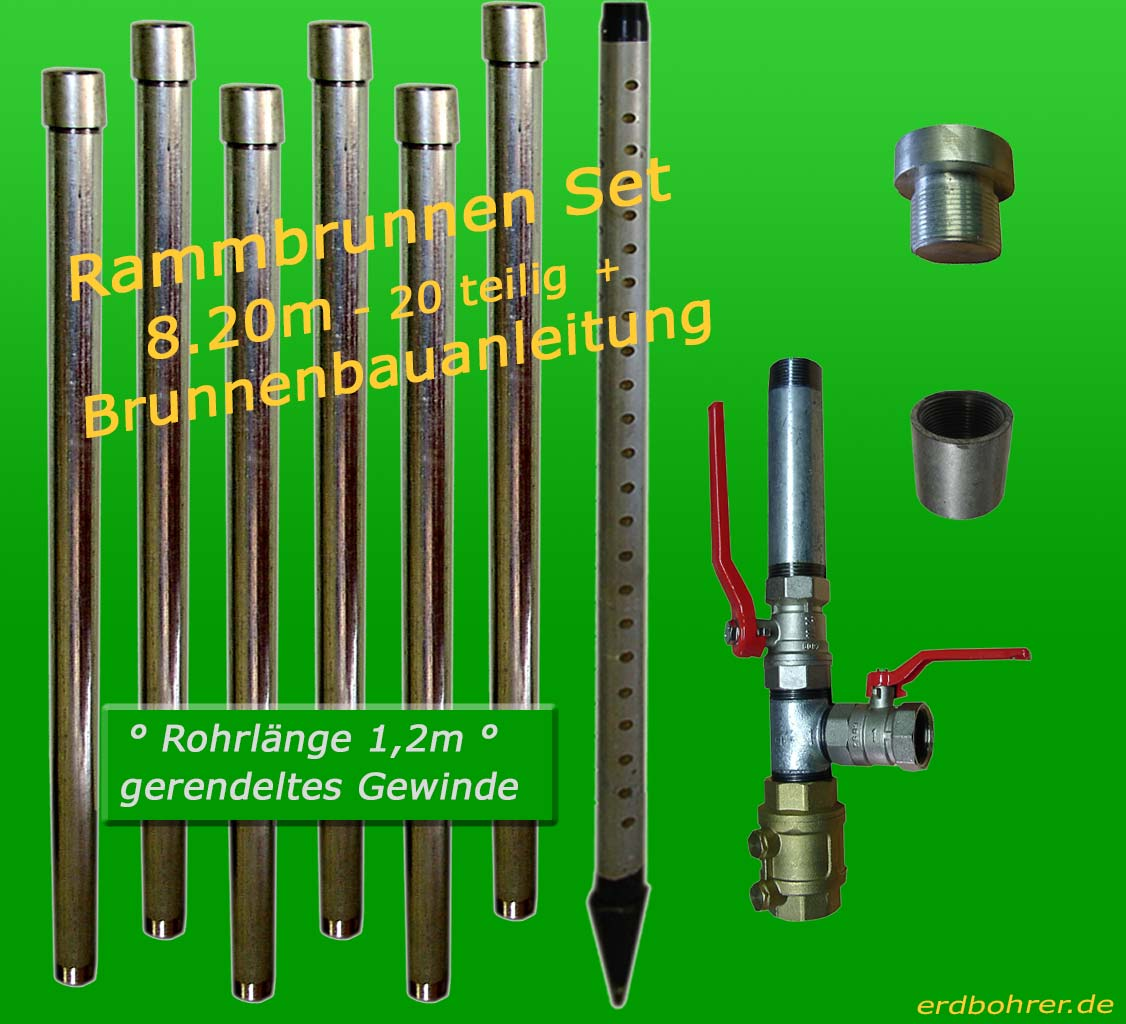 Brunnenbau-Set 8.20m 20 tlg Rammbrunnen 1-1/4 Zoll