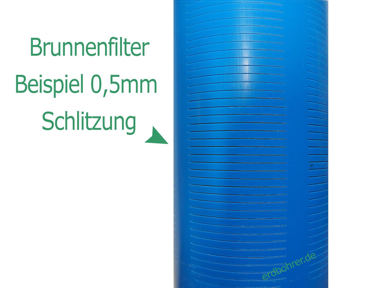 Glattwand Brunnenfilter DN125 - 5 Baulänge 1m TNA Gewinde