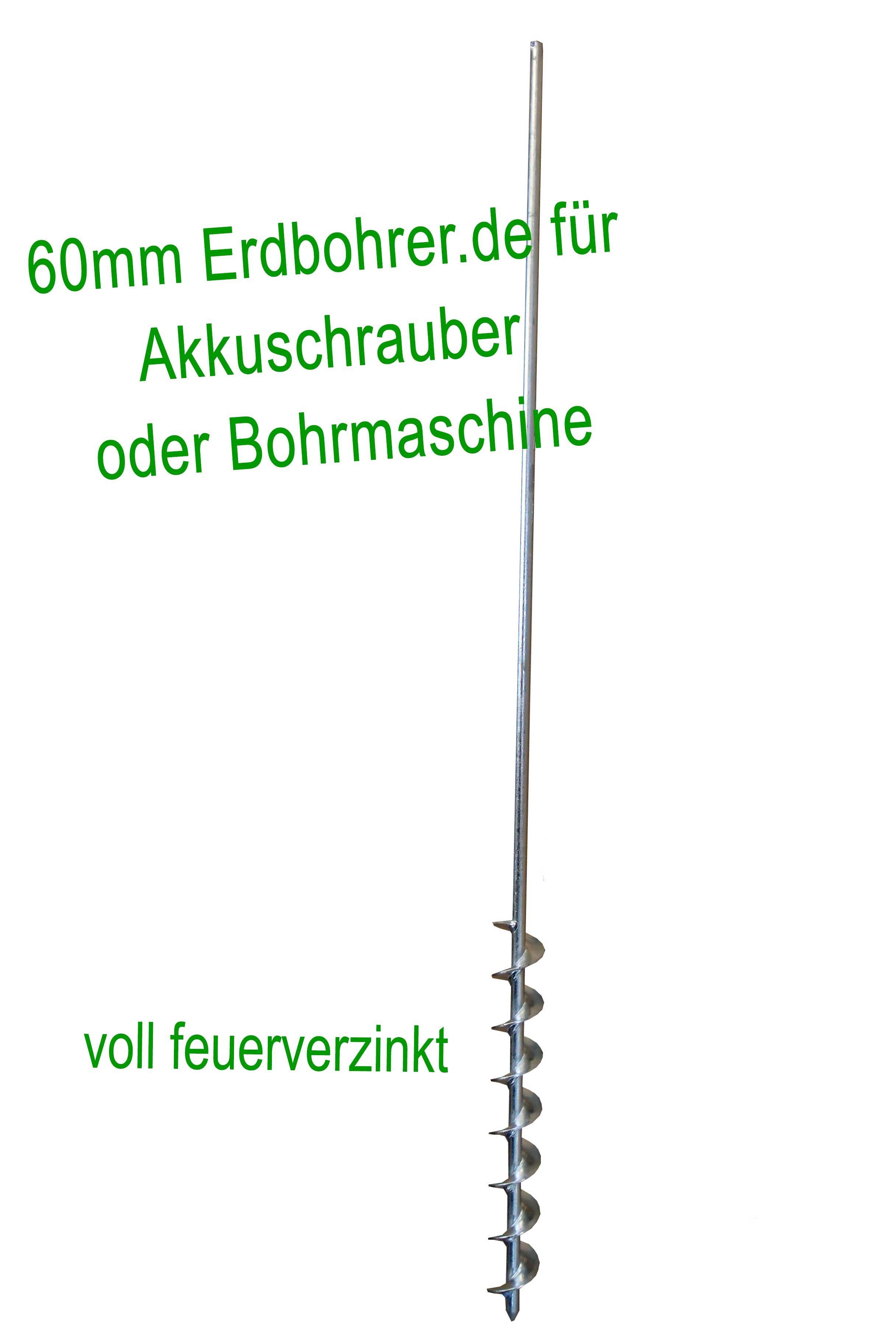 Erdbohrer 60mm 6 cm - 1m für Akkuschrauber