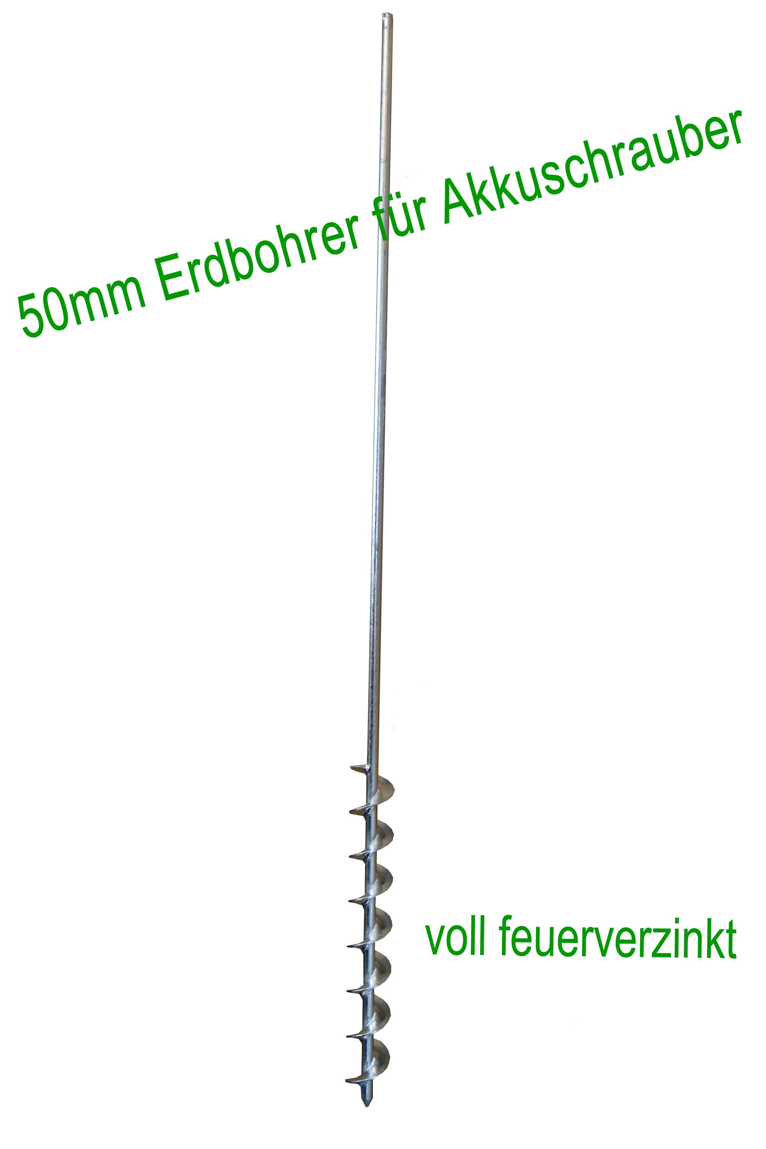 Erdbohrer 50 mm 5 cm - 1m für Akkuschrauber