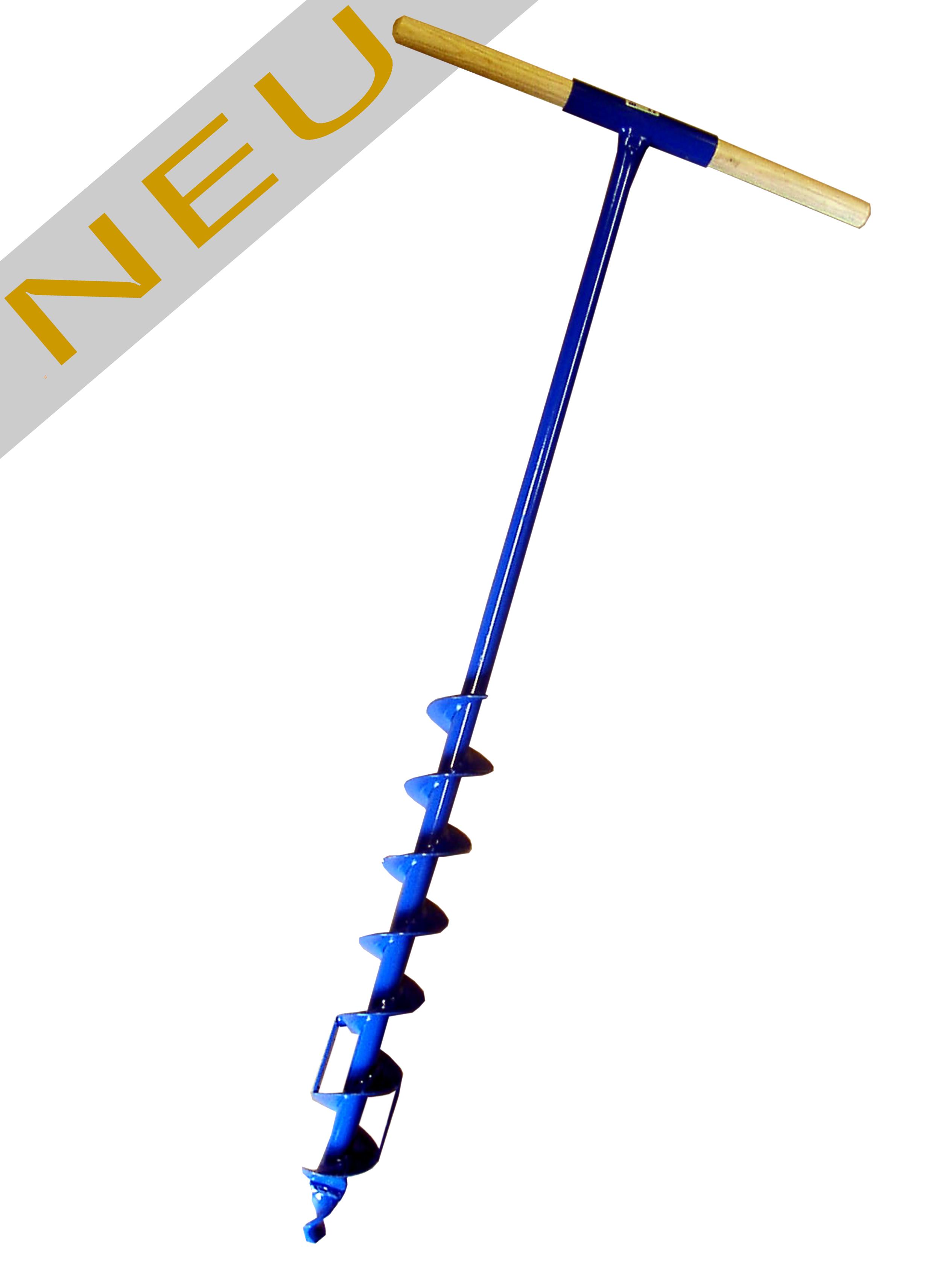 Erdbohrer 130 mm 13cm - 1m lang blau pulverbeschichtung